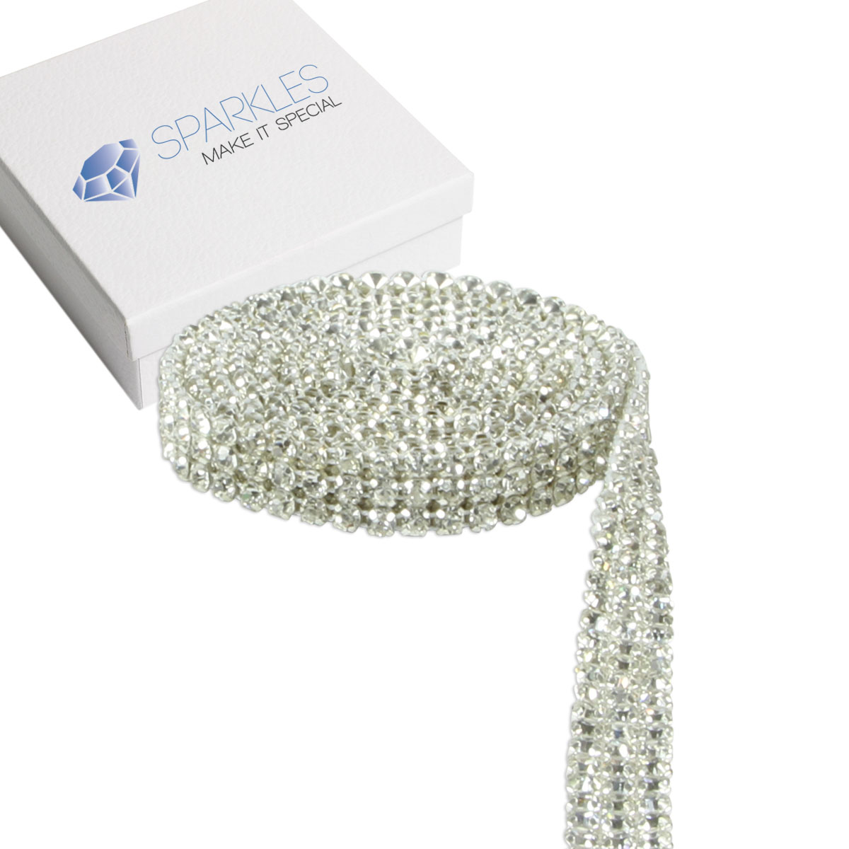 Premium 3 Row Crystal Rhinestone Ribbon Wedding Cake