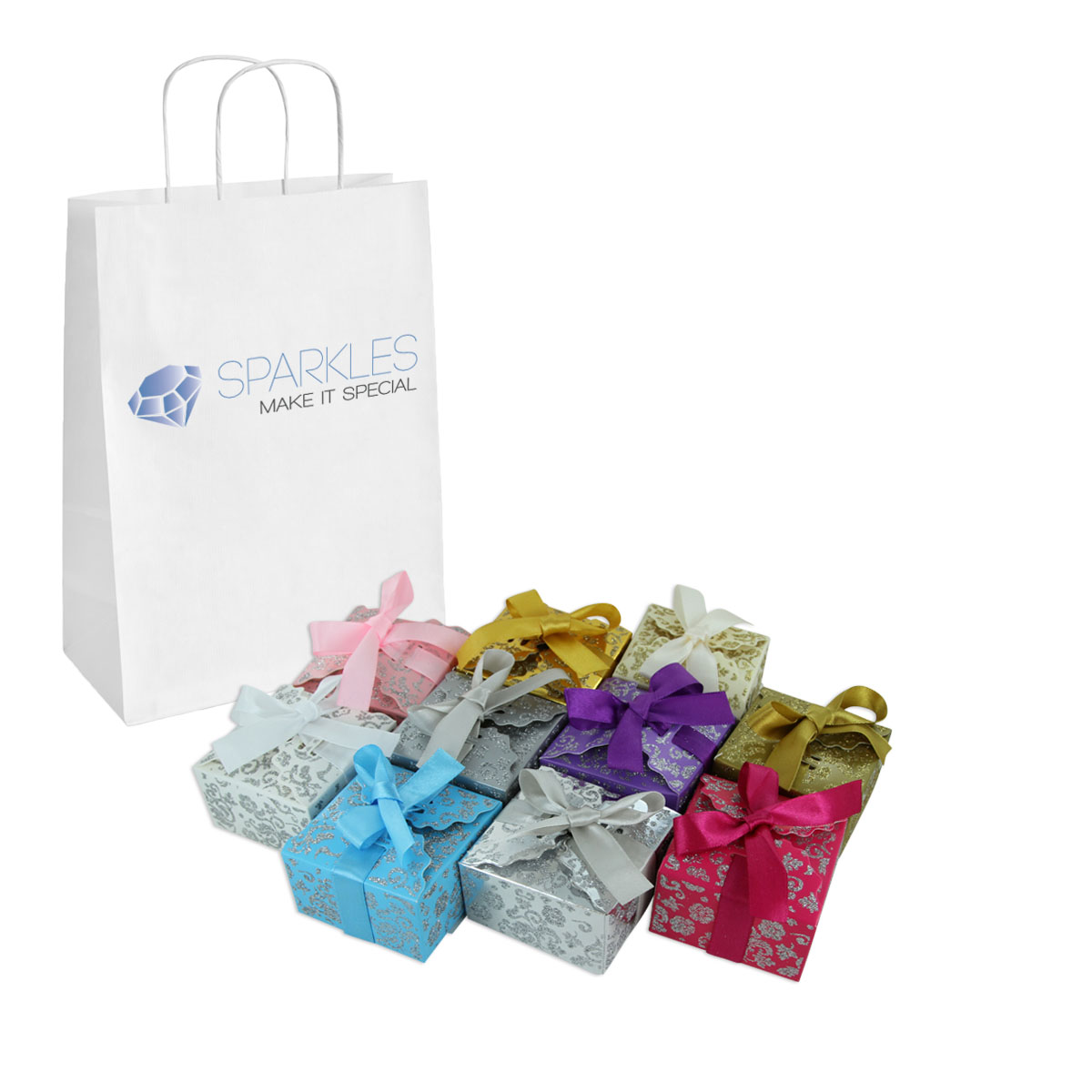 100 Small Ribbon Wedding Favor Gift Boxes Baby Shower Candy - 11 Colors