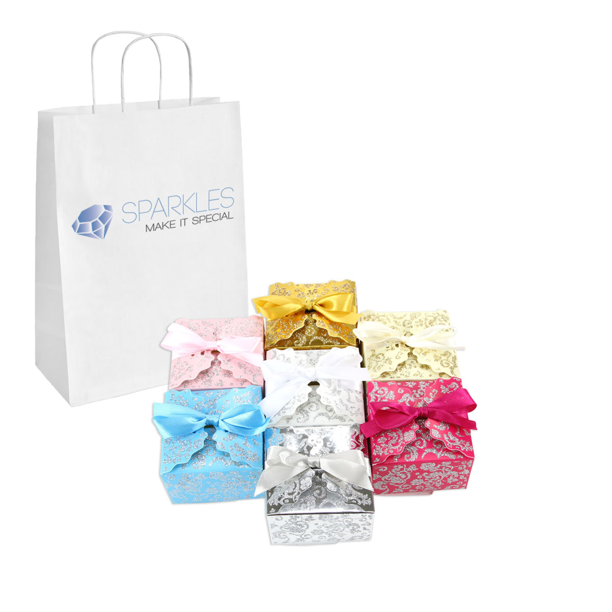 Medium Clear Favor Boxes : Medium ribbon wedding favor gift boxes baby shower