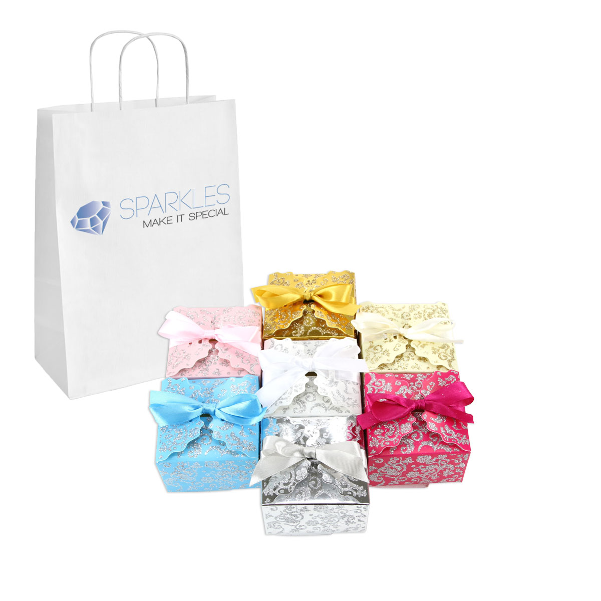 about 50 medium ribbon wedding favor gift boxes baby shower candy