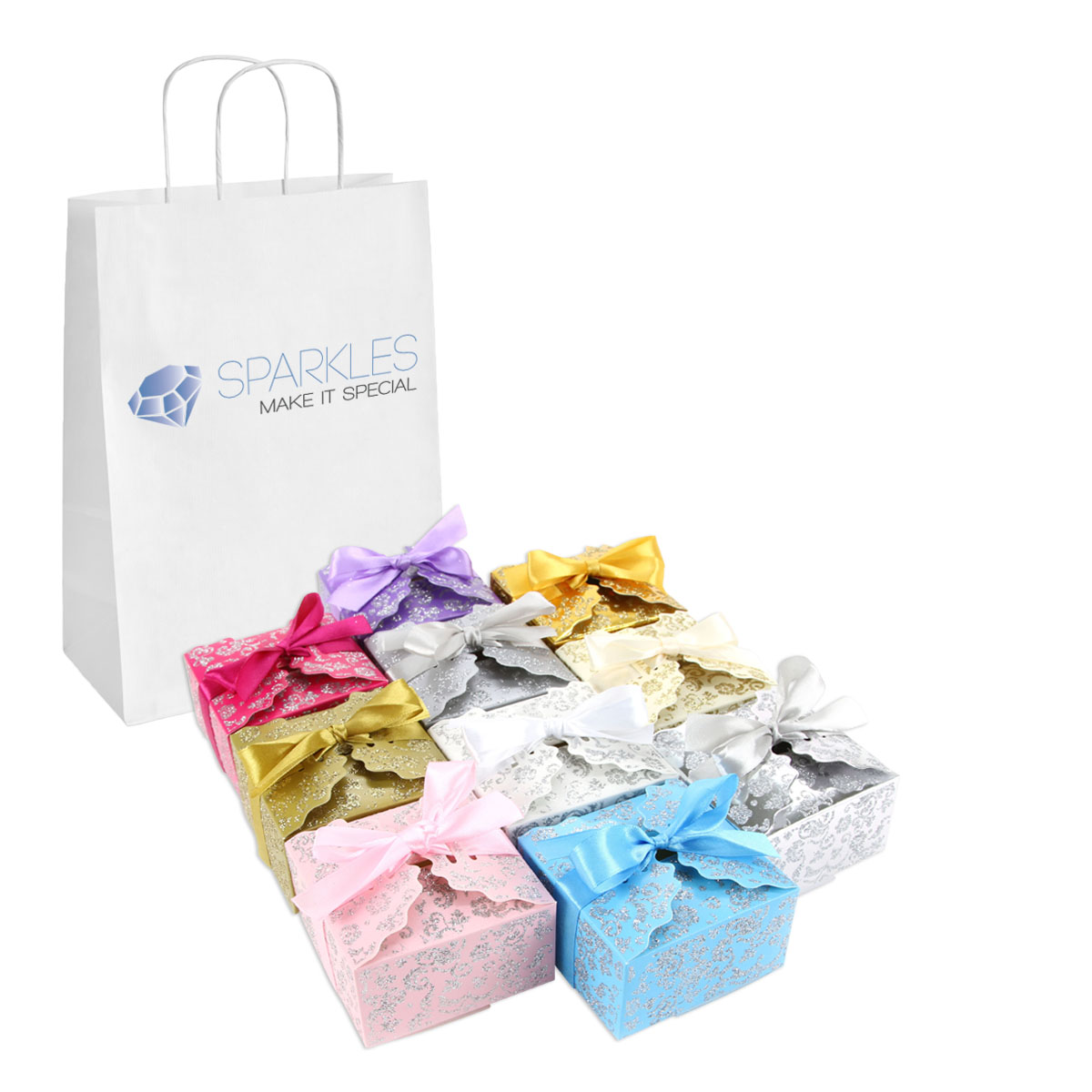 Details about 50 Large Ribbon Wedding Favor Gift Boxes Baby Shower ...