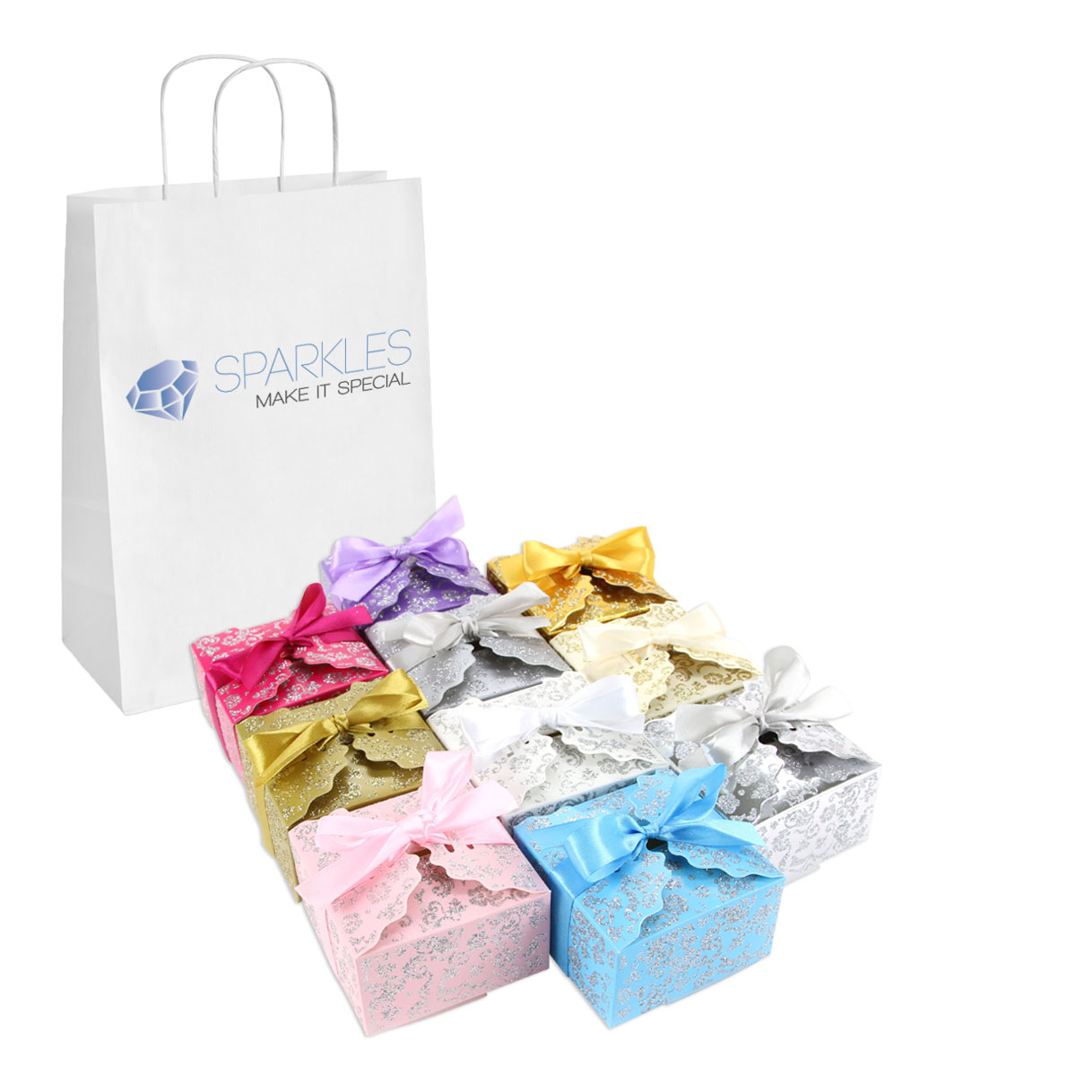 50 Large Ribbon Wedding Favor Gift Boxes Baby Shower Candy | eBay