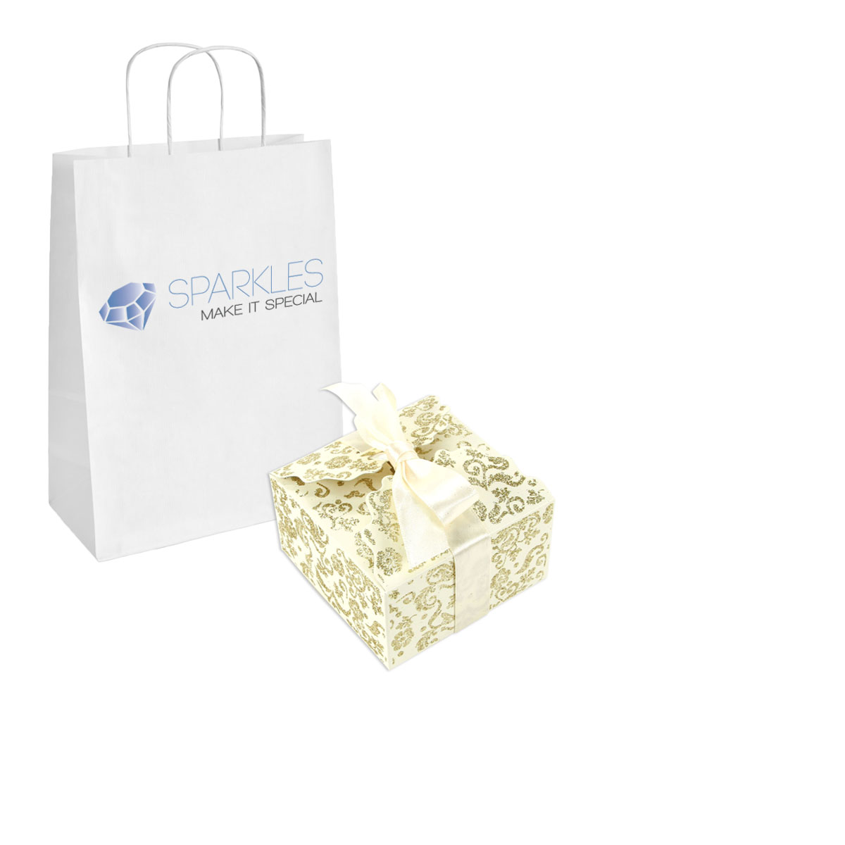 Large Gold Favor Boxes : Ivory gold large ribbon wedding favor gift boxes party