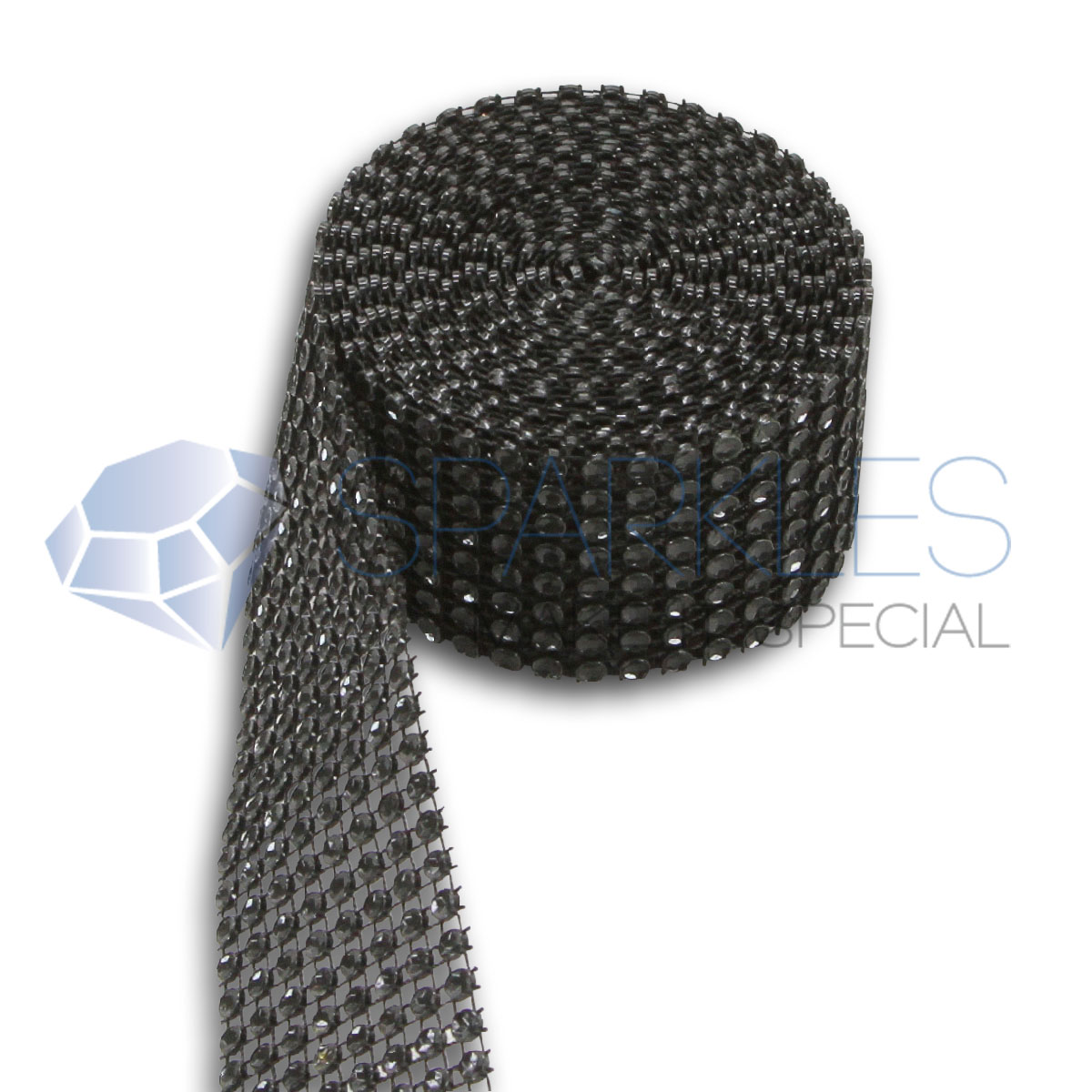 Black 8 Row Diamond Rhinestone Ribbon Wedding Cake Mesh