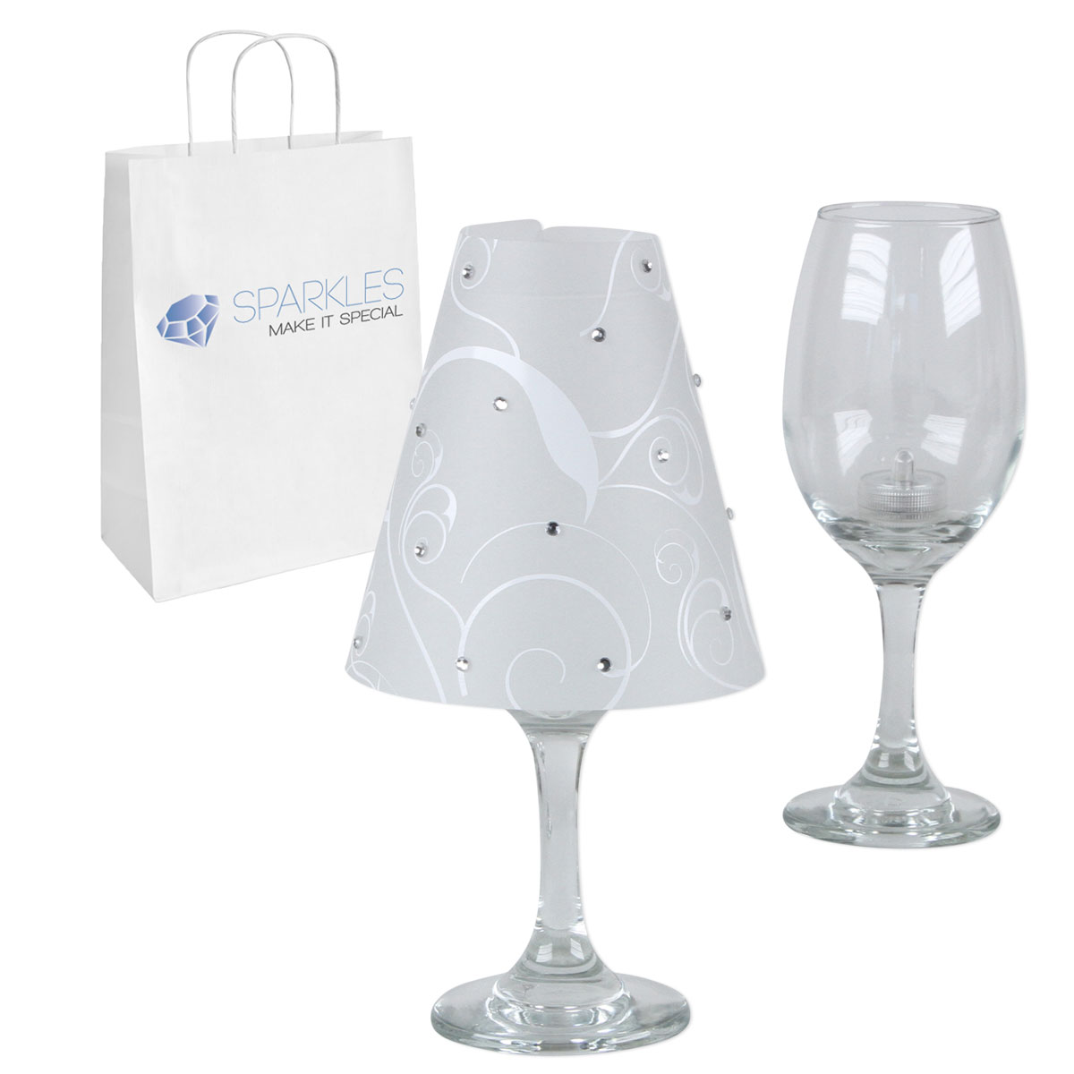 Wine glass lamp shades w rhinestones led tea lights kit for Wine glass decorations for weddings