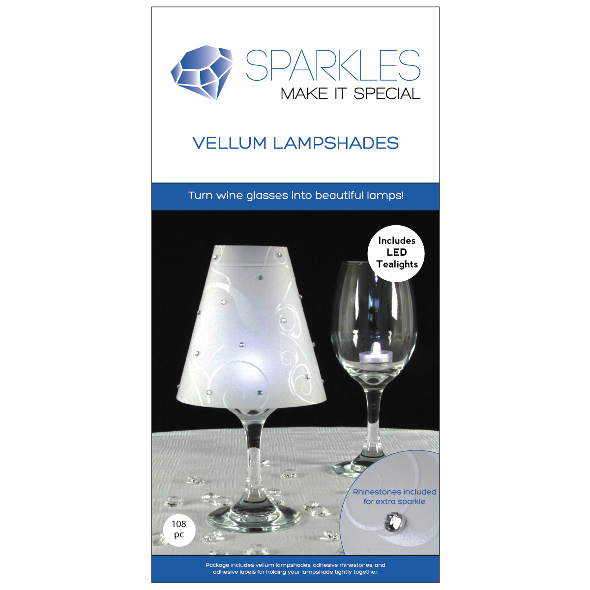 Wine Glass Lamp Shades w Rhinestones Wedding Party Table Centerpiece ...