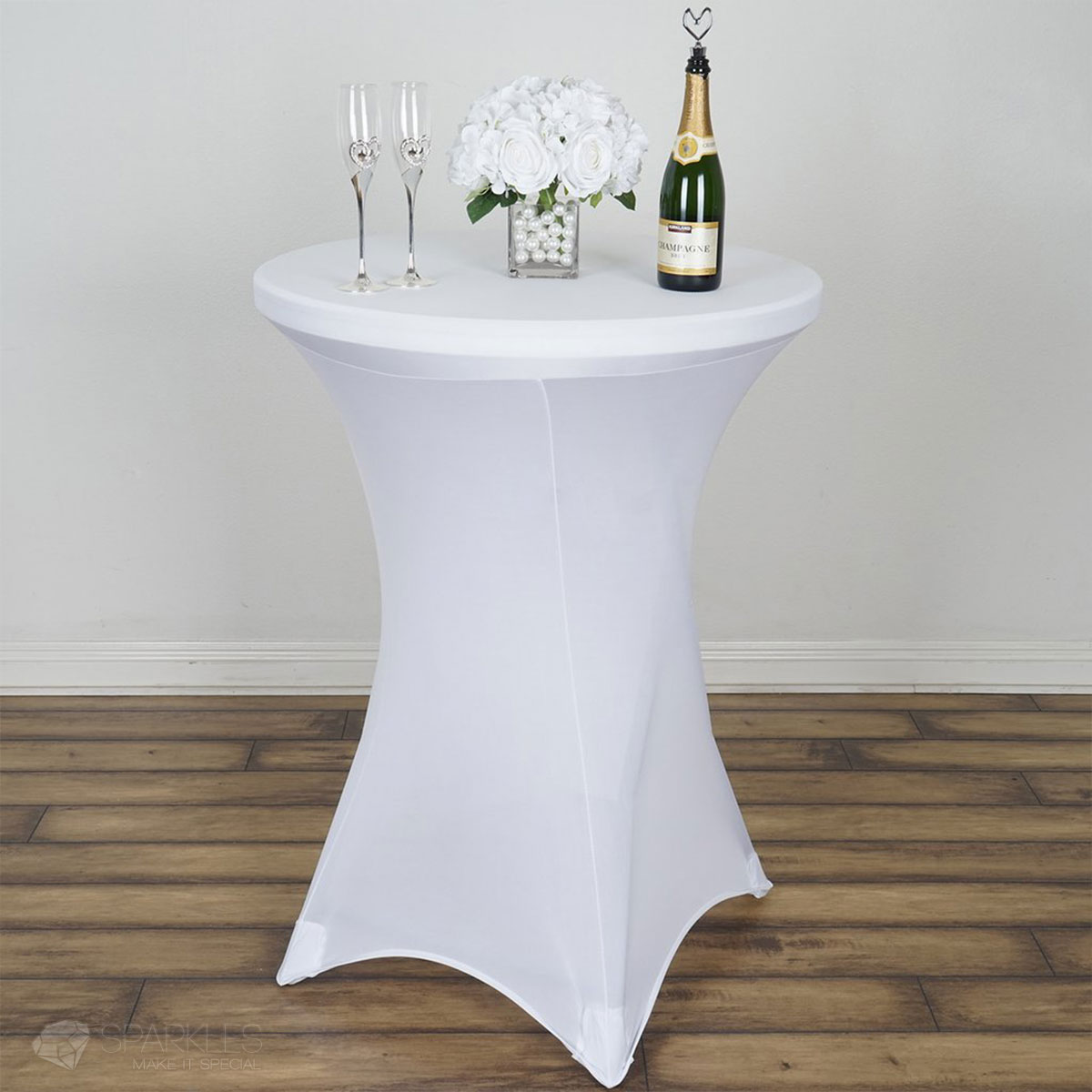1 Pc 30 Tail Table Round Ed Spandex Tablecloth White X Base