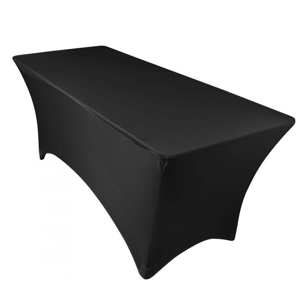 10 pc 8 FT (environ 2.44 m) rectangulaire ajusté élasthanne Tissu Tissu Lin Nappe-Noir QG