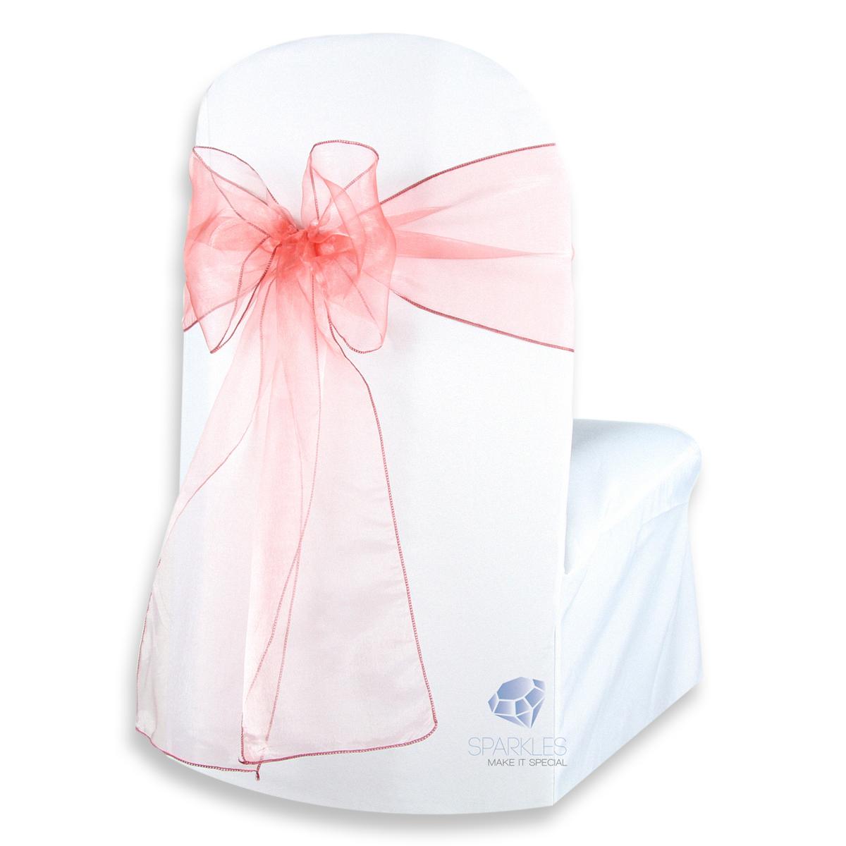50 Pcs Organza Chair Cover Bow Sash 108x8 Wedding Party Banquet Reception
