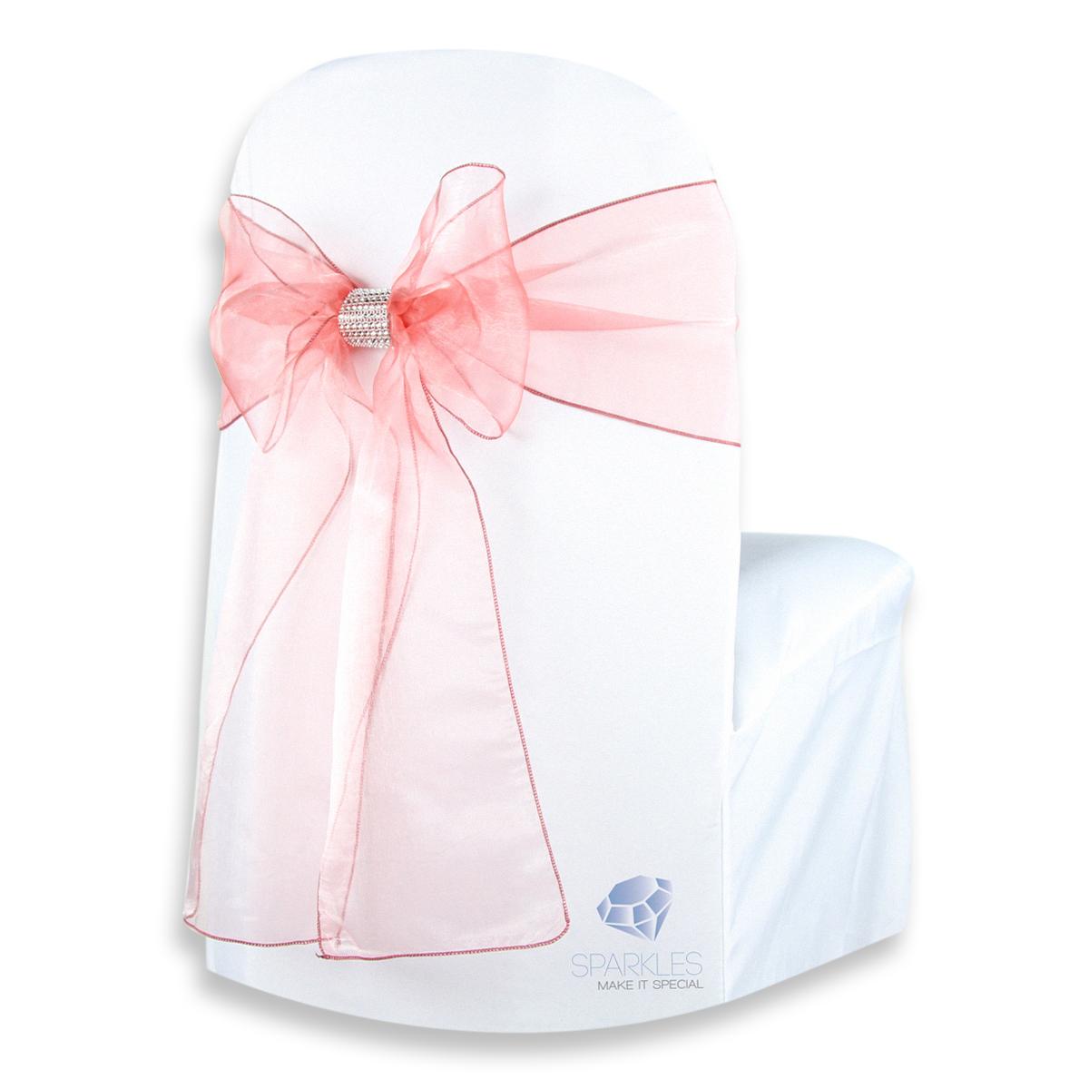 100 Pcs Organza Chair Cover Bow Sash 108x8 Wedding Party Banquet Reception