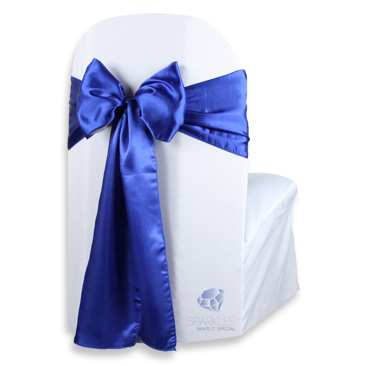 50 pcs satin chair cover bow sash 108 quot x8 quot royal blue wedding party nn