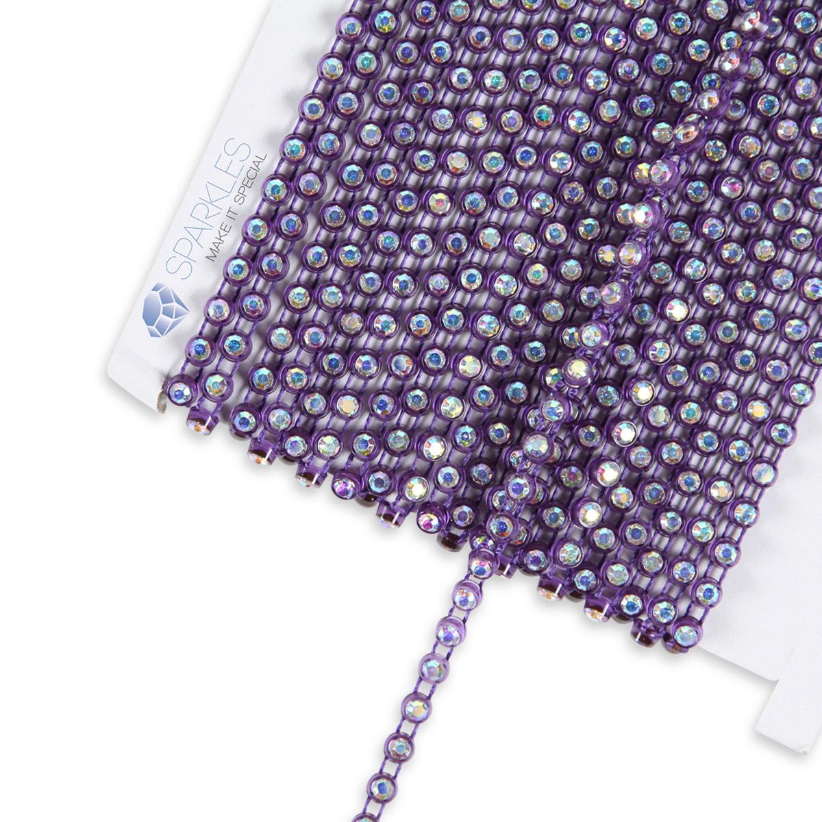 10 Yard Ss10 Ab Crystal Rhinestone Banding Purple Trim Chain Roll Decor Ni Ebay