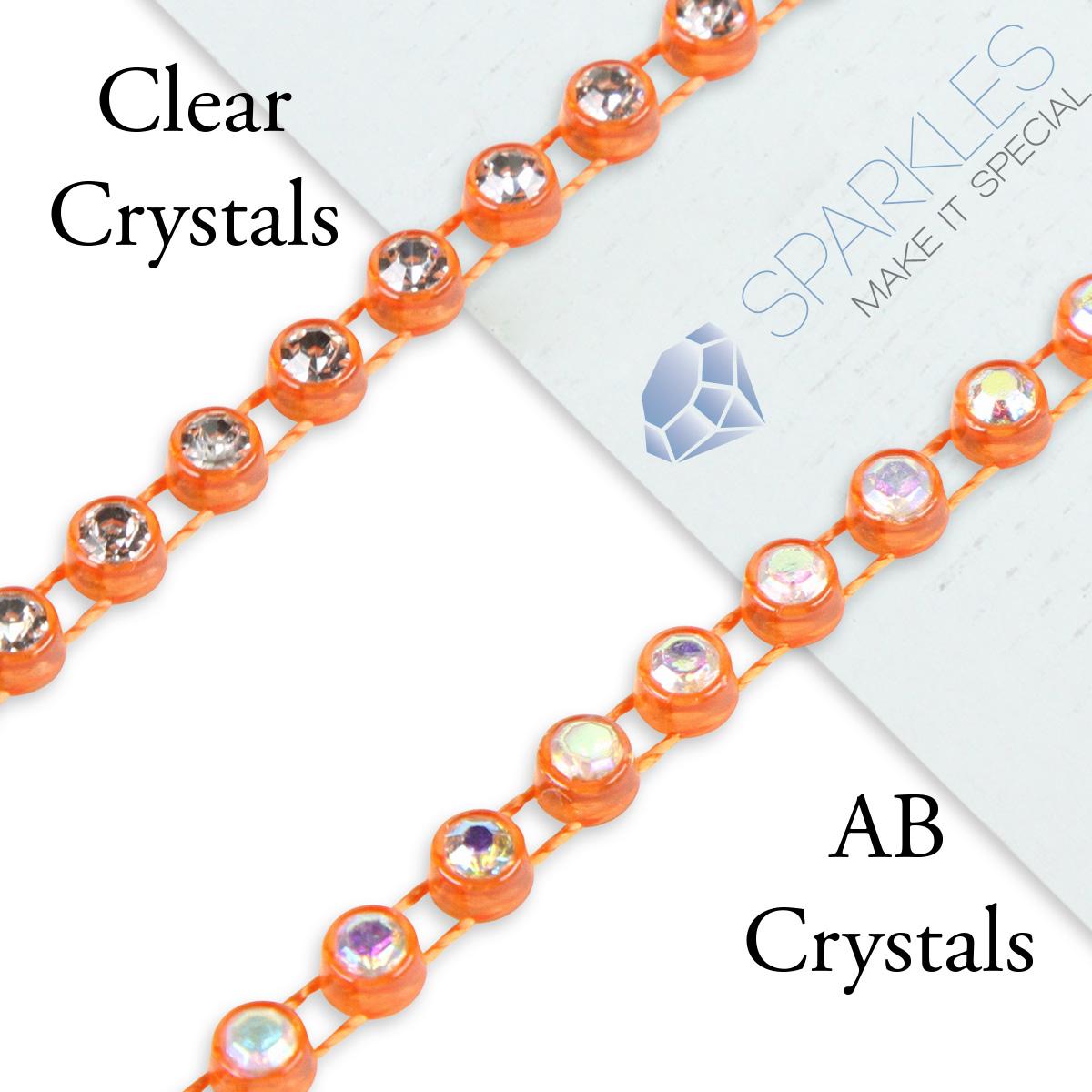 10-Yard-SS10-AB-Clear-Crystal-Rhinestone-Banding-Trim-Chain-Roll-Decor-Color