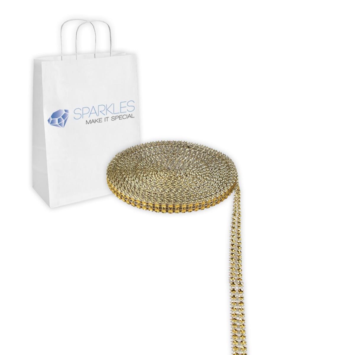 Gold 2 Row Diamond Rhinestone Ribbon Trim Mesh Wrap Yards