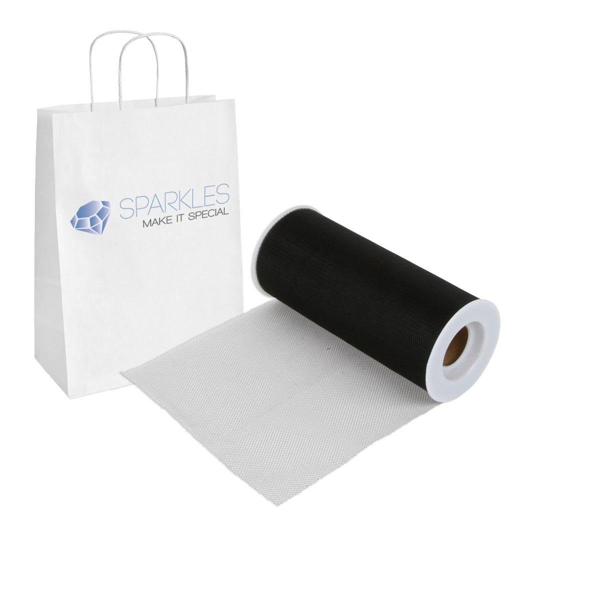 Black 6 X 25 Yd Tulle Fabric Roll Spool Wedding Bow Decoration