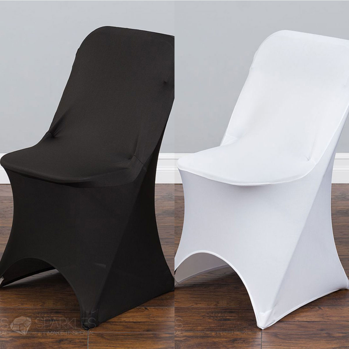 Spandex Black White Or Ivory Folding Arched Chair Covers