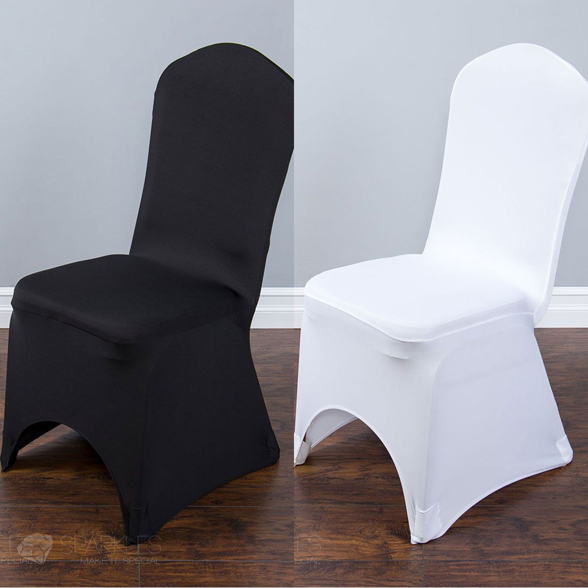 Spandex Black White Or Ivory Banquet Arched Chair Covers